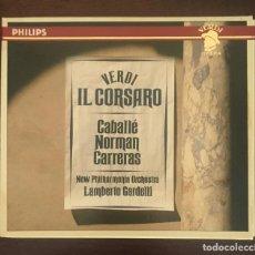 CDs de Música: VERDI - IL CORSARO - CABALLÉ, NORMAN Y CARRERAS . DOBLE CD + LIBRETO. Lote 215201951