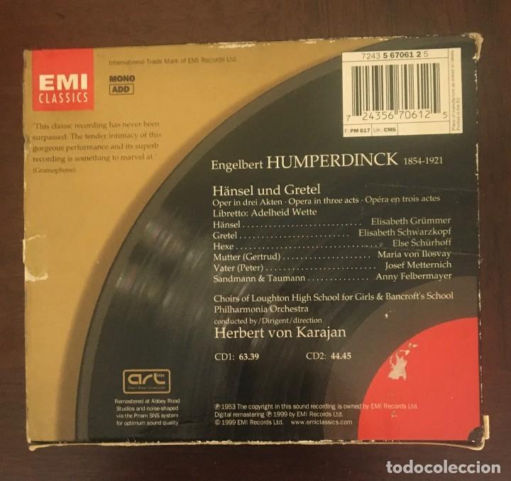 CDs de Música: HANSEL Y GRETEL - HUMPERDICK - KARAJAN - DOBLE CD + LIBRETO - Foto 2 - 215202151