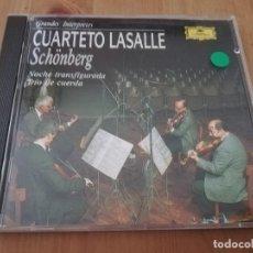CDs de Música: CUARTETO LASALLE. SCHÖNBERG. NOCHE TRANSFIGURADA / TRÍO DE CUERDA (CD). Lote 218425513