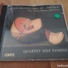 CDs de Música: JUAN CRISÓSTOMO DE ARRIAGA. THE THREE STRING QUARTETS (CD). Lote 218427530