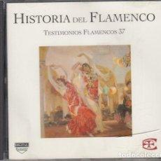 CDs de Música: HISTORIA DEL FLAMENCO - TESTIMONIOS FLAMENCOS - CD EDICIONES TARTESSOS VOL 37. Lote 218692891