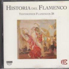 CDs de Música: HISTORIA DEL FLAMENCO - TESTIMONIOS FLAMENCOS - CD EDICIONES TARTESSOS VOL 38. Lote 218693052