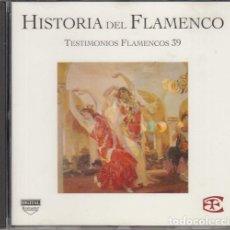 CDs de Música: HISTORIA DEL FLAMENCO - TESTIMONIOS FLAMENCOS - CD EDICIONES TARTESSOS VOL 39. Lote 218693128