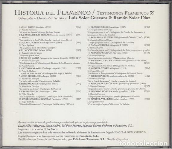 CDs de Música: HISTORIA DEL FLAMENCO - TESTIMONIOS FLAMENCOS - CD EDICIONES TARTESSOS VOL 39 - Foto 2 - 218693128