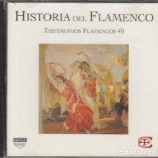 CDs de Música: HISTORIA DEL FLAMENCO - TESTIMONIOS FLAMENCOS - CD EDICIONES TARTESSOS VOL 40. Lote 218693190