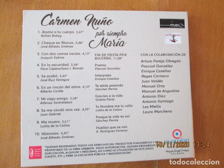 CDs de Música: CARMEN NUÑO, POR SIEMPRE MARÍA - CD - LA FLAMENCA STUDIO - CANTA CANCIONES DE MARÍA JIMENEZ. - Foto 2 - 220795948