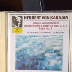 CDs de Música: BACH - BRANDENBURG CONCERTOS 2,3,5 SUITE 3 - KARAJAN. Lote 221095652