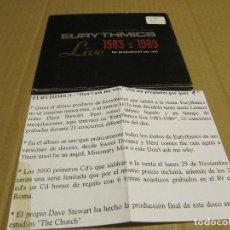 CDs de Música: EURYTHMICS - LIVE 1983-1989. EDICIÓN DIGIPACK DESPLEGABLE PROMO .MINICD CON 6 TEMAS CADENA 100. Lote 221626267
