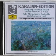 CDs de Música: WOLFGANG AMADEUS MOZART FELIX MENDELSSOHN BARTHOLDY KARAJAN, ANNE-SOPHIE MUTTER · BERLINER PHILHAR. Lote 221742328