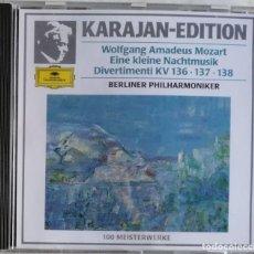 CDs de Música: WOLFGANG AMADEUS MOZART KARAJAN • BERLINER PHILHARMONIKER-EINE KLEINE NACHTMUSIK DIVERTIMENTI K. Lote 221742398