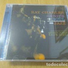 CDs de Música: RAY CHARLES CD DOBLE GENIUS + SOUL = JAZZ 2 CDS CON QUINCY JONES. Lote 222471726