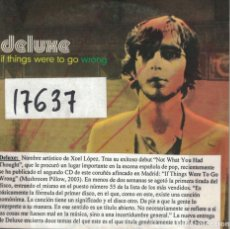CDs de Música: DELUXE - IF THINGS WERE TO GO WRONG (CDSINGLE CARTON PROMO, MUSHROOM RECORDS 2004). Lote 222651582