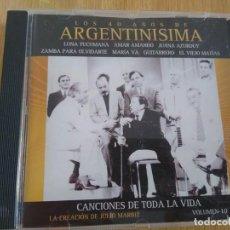 CDs de Música: ARGENTINISIMA -CD 40 AÑOS VOL 10 -INTERPRETES VARIOS FOLKLORE ARGENTINO. Lote 222795586