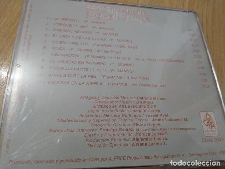 CDs de Música: PATRICIO MANNS CD POR QUE TE AME CD IMPORTADO DESCATALOGADO - Foto 2 - 224375267