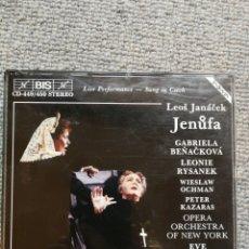 CDs de Música: JANACEK: JENUFA G.BENACKOVA,L. RYSANEK. EVE QUELER 1988 LIVE 2CD CANTADO EN CHECO.. Lote 224590023