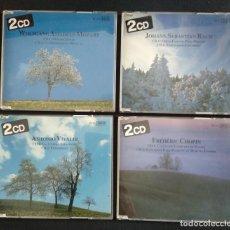 CDs de Música: FANTÁSTICO LOTE 4 CD DOBLES - J.S. BACH (1989) - VIVALDI (1988) - MOZART(1989) - CHOPIN (1990) -. Lote 224855758