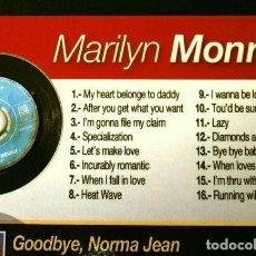 CDs de Musique: MARILYN MONROE - CD CON 16 CANCIONES ORIGINALES + 2 DVD: LA PELÍCULA GOODBYE NORMA JEAN + DOCUMENTAL. Lote 224990380