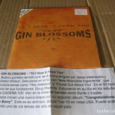 CDs de Música: GIN BLOSSOMS-TIL I HEAR IT FROM YOU CD SINGLE 1996 CADENA 100. Lote 227447161