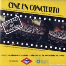 CDs de Música: CINE EN CONCIERTO - HOTEL AUDITORIUM MADRID. Lote 243897740