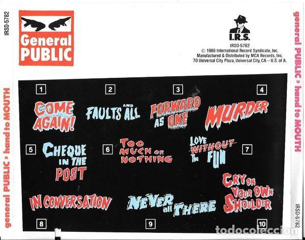 CDs de Música: General Public - Hand to Mouth - Foto 2 - 231801815