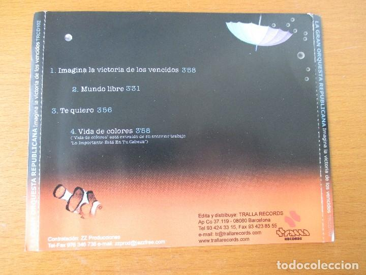 CDs de Música: LA GRAN ORQUESTA REPUBLICANA IMAGINA LA VICTORIA DE LOS VENCIDOS CD SINGLE PROMOCIONAL TRALLA 2001 - Foto 2 - 232742295