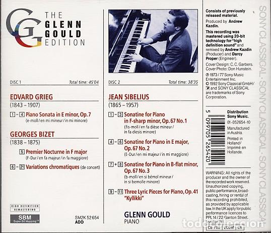 CDs de Música: THE GLEN GOULD EDITION. Grieg / Bizet / Sibelius: Piano Works (2 CD) - Foto 2 - 234369955