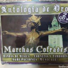 CDs de Música: ANTOLOGIA DE ORO. MARCHAS COFRADES. BANDAS DE MÚSICA CORNETAS Y TAMBORES CAJA 2 CDS PRECINTADO. Lote 235118450