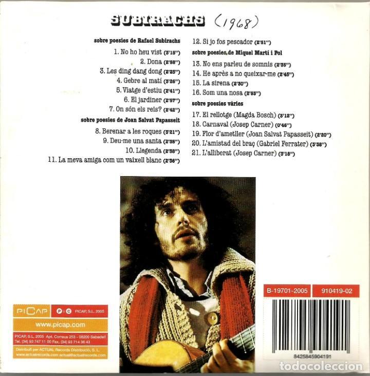 CDs de Música: RAFAEL SUBIRACHS (1968) (CD) - 2005 - CANÇÓ CATALANA - Foto 2 - 235363370