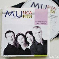 CDs de Música: MUSICA MUNDI, DEL RENACIMIENTO A NUESTROS DÍAS, GRUPO CORAL DE SANTANDER, 2008 , COMO NUEVO, (NM_NM). Lote 235896140