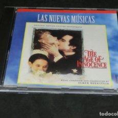 CDs de Música: THE AGE OF INNOCENCE - ELMER BERSTEIN - LA EDAD DE LA INOCENCIA - LAS NUEVAS MÚSICAS 1993 - BSO. Lote 236272990