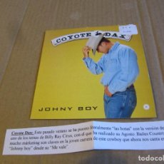 CDs de Música: COYOTE DAX - JOHNY BOY SINGLE CARTON PROMO CADENA 100. Lote 236832170