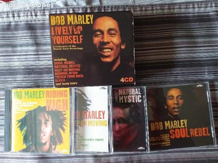 4 CDS BOB MARLEY EN CAJA LIVELY UP YOURSELF, SOUL REBEL, NATURAL MISTYC RIDING HIGH (Música - CD's Reggae)