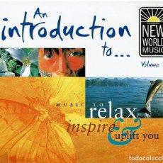 CDs de Música: NEW WORLD MUSIC 2. RELAX. STEPHEN RODES,MEDWYN GOODALL,ASHA, TERRY OLDFIELD,LLEWELLYN,PIA,MIDORI. Lote 239389935