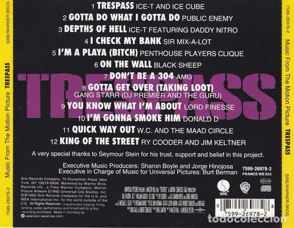 CDs de Música: Trespass BSO (Ice-T, Ice Cube, Public Enemy, Black Sheep, etc.) - Foto 2 - 242391730