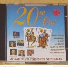 CDs de Música: 20 EN OROS - CD 1992 (ROCIO JURADO, CHIQUETETE, EL FARY, MANOLO ESCOBAR, ANA REVERTE, JUNCO, PERET). Lote 244192050