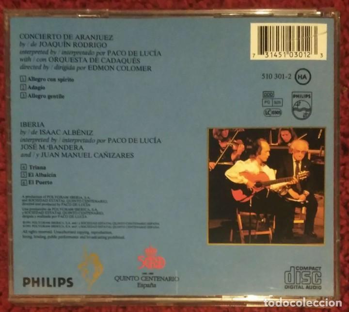 CDs de Música: CONCIERTO DE ARANJUEZ (PACO DE LUCIA & JOAQUIN RODRIGO) CD 1991 - Foto 2 - 244842545