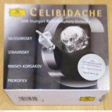 CDs de Música: SERGIU CELIBIDACHE (MUSSORGSKY - STRAVINSKY - RIMSKY-KORSAKOV - PROKOFIEV) 4 CD'S 1999. Lote 249567450