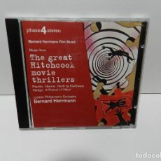CD de Música: DISCO CD. BERNARD HERRMANN FILM MUSIC - MUSIC FROM THE GREAT HITCHCOCK MOVIE THRILLER. COMPACT DISC.. Lote 253450770