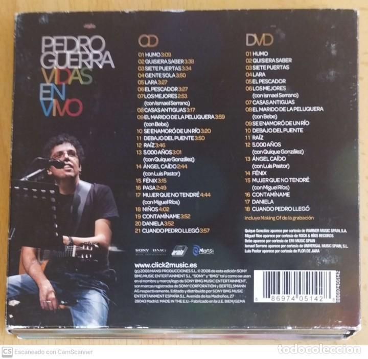CDs de Música: PEDRO GUERRA (VIDAS - EN VIVO) CD + DVD 2008 - MIGUEL RIOS, BEBE, ISMAEL SERRANO, LUIS PASTOR.. - Foto 2 - 253524900