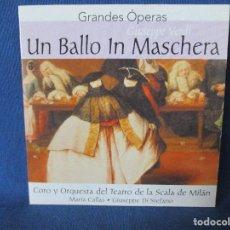CDs de Música: CD - GRANDES ÓPERAS - GIUSEPPE VERDI - UN BALLO IN MASCHERA. Lote 254550360