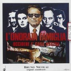 CDs de Música: L´ONORATA FAMIGLIA UCCIDERE E´ COSA NOSTRA / BRUNO NICOLAI CD BSO. Lote 254645455