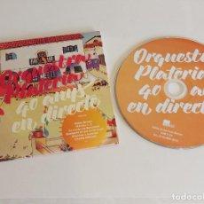 CDs de Música: ORQUESTRA PLATERIA / 40 ANYS EN DIRECTE / CD - EDR-2014 / 17 TEMAS / IMPECABLE.. Lote 257418510