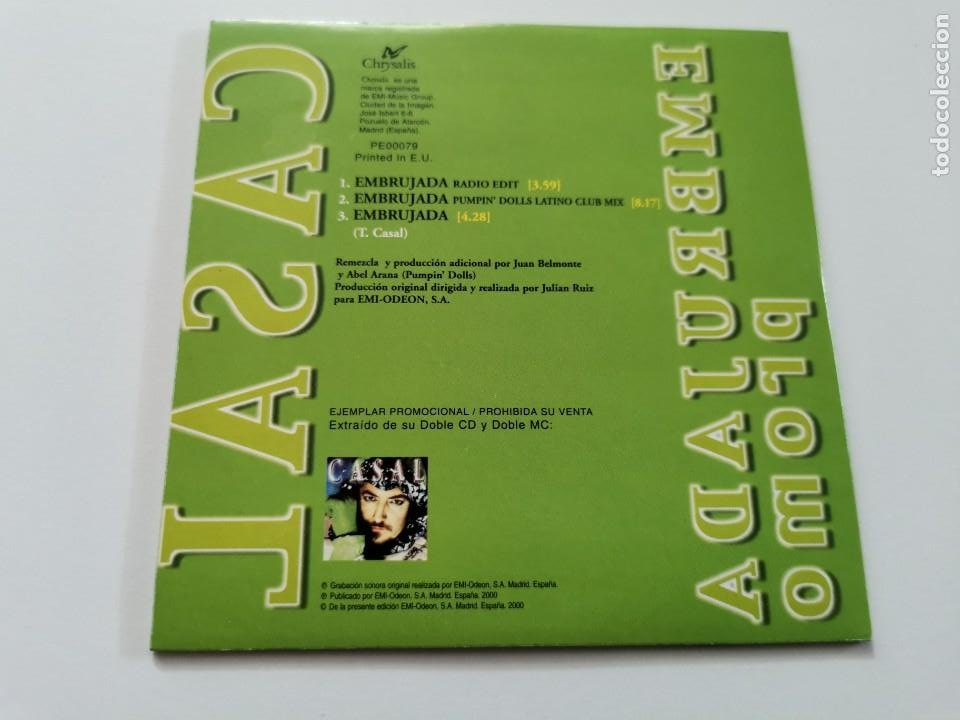 CDs de Música: TINO CASAL Embrujada CD SINGLE PROMOCIONAL CARTON AÑO 2000 3 TEMAS REMIX PUMPIN´ DOLLS - Foto 2 - 261169120