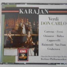 CDs de Música: VERDI. DON CARLO. TRIPLE COMPACTO EMI. JOSE CARRERAS. MIRELLA FRENI. AGNES BALTSA. NICOLAI GHIAUROV.. Lote 261364365