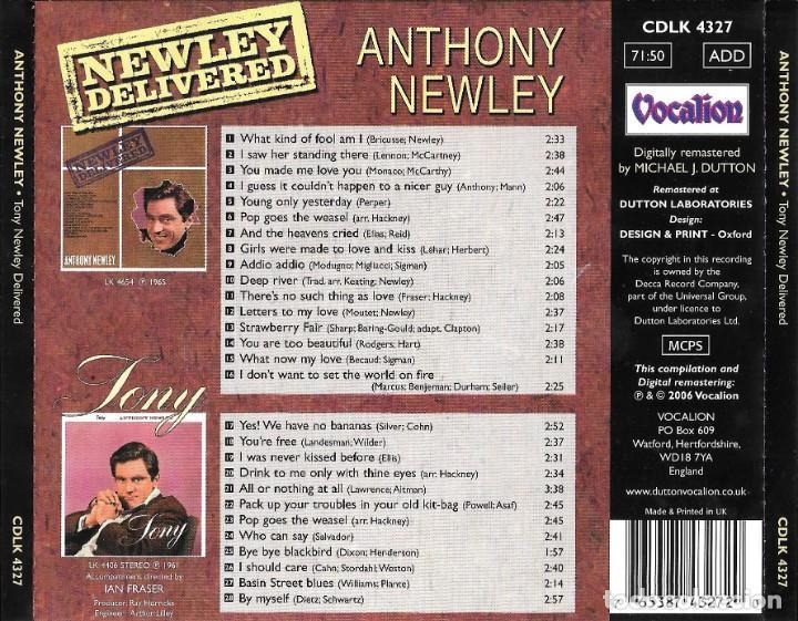 CDs de Música: ANTHONY NEWLEY - TONY / NEWLEY DELIVERED - Foto 2 - 261615315