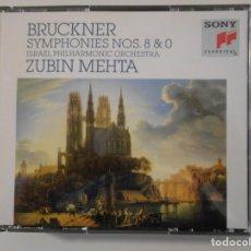 CDs de Música: BRUCKNER. SYMPHONIES Nº 8 & 0. ISRAEL PHILHARMONIC ORCHESTRA. ZUBIN MEHTA. DOBLE COMPACTO SONY.. Lote 262133195