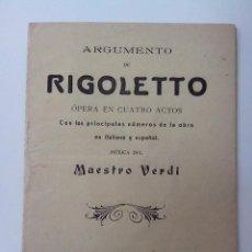 CDs de Música: RIGOLETTO OPERA EN 4 ACTOS MAESTRO VERDI AÑO 1914. Lote 262142245