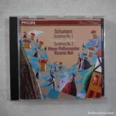 CDs de Música: SCHUMANN / WIENNER PHILHARMONIKER, RICCARDO MUTI - SYMPHONY N.º 3 / SYMPHONY N.º 2 - CD 1996. Lote 262262950