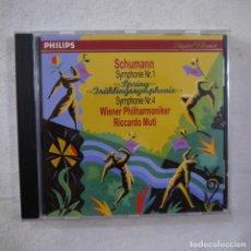 CDs de Música: SCHUMANN / WIENNER PHILHARMONIKER, RICCARDO MUTI - SYMPHONIE N.º 1 - CD 1994. Lote 262263270