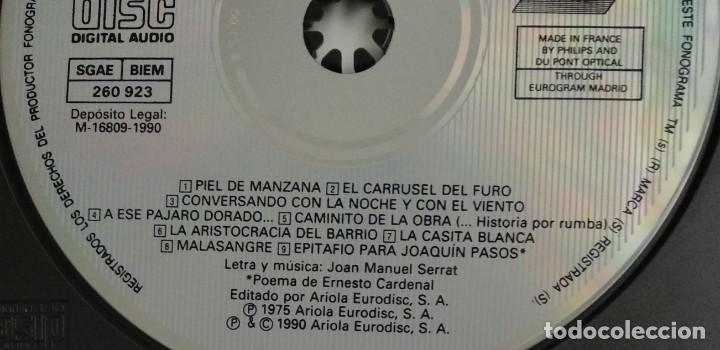 CDs de Música: 1° edición sin código de barras / JOAN MANUEL SERRAT 1990 CD impecable - ...PARA PIEL DE MANZANA - Foto 4 - 263191950